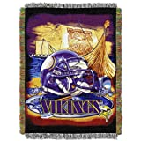 Officially Licensed NFL Minnesota Vikings 'Home Field Advantage' Woven Tapestry Throw Blanket, 48' x 60', Multi Color