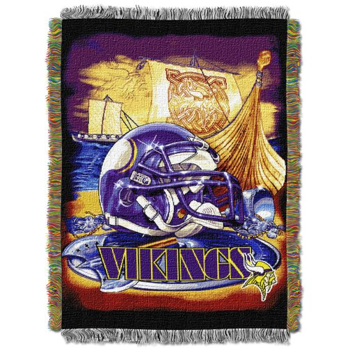 "NORTHWEST NFL Minnesota Vikings Woven Tapestry Throw Blanket, 48"" x 60"", Home Field Advantage"