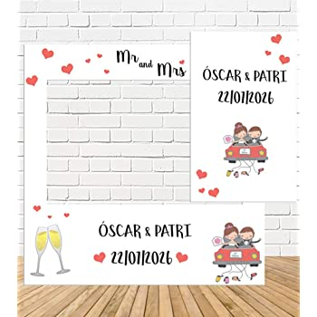 Fondo Photocall Bodas 2 x 1,8m Tapiz Pared Grande Just Married Photo Booth Props Tela Pared Boda Decoración Accesorios Photocall para Boda Fiesta Despedidas de Soltera Noche de la Gallina: Amazon.es: Hogar