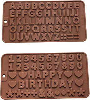 Murong Z Letters +Happy Birthday/Numbers/Symbols Mold Chocolate Decorating Silicone Tray (2pcs)