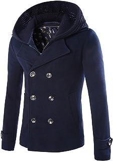 معطف كلاودستايل للرجال مزيج من الصوف مزدوج الصدر ملابس خارجية معطف البازلاء مع سترة دافئة بغطاء للرأس