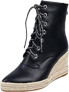 Zanpa Women Fashion Lace up Booties Wedge Heels Zipper