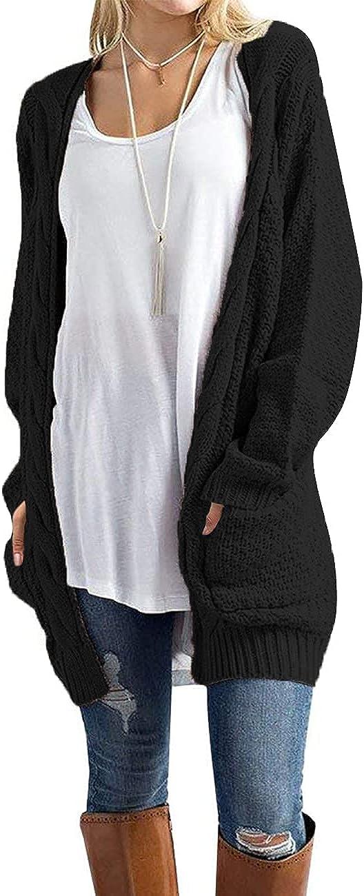 Traleubie Womens Open Front Long Sleeve Boho Boyfriend Knit Chunky Cardigan Sweater