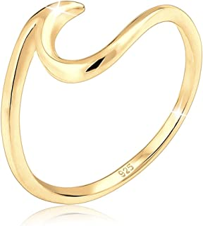 Elli Women's 925 Sterling Silver Gold Plated Waves Wave Beach Maritime Statement Blogger Trend Modern Ring, Size N