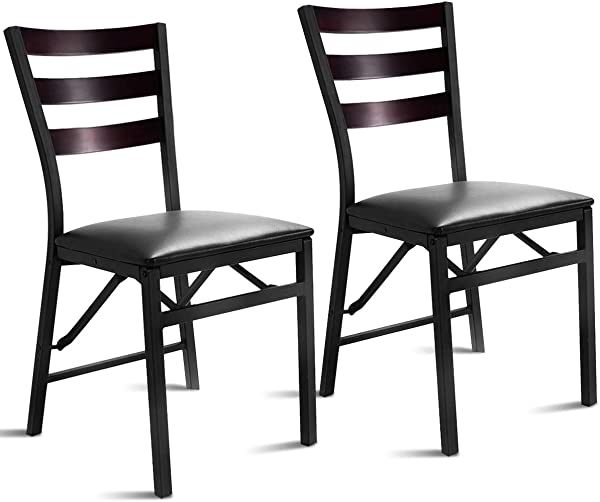 Giantex Set Of 2 Wood Folding Chair Dining Chairs Home Restaurant Furniture Portable 15 6 X 17 7 X 33 5