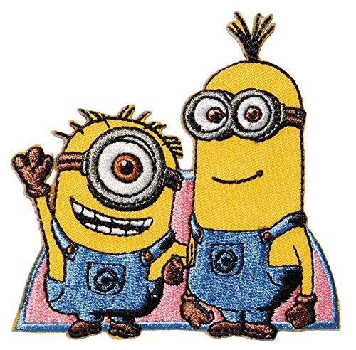 """Bügelbild - """" Minion - 2 Freunde """" - 8,5 cm * 8,5 cm - Aufnäher Applikation - Minions / Ich einfach unverbesserlich - gestickter Flicken - Jungen & Mädchen / Kinder - Despicable Me - Tom Steve Mark / Phil / Jerry / Dave"""
