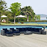 Modway Sojourn Wicker Rattan 11 Piece Outdoor Patio Sunbrella Sectional Set in Canvas Navy