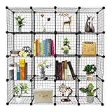 belupai Organizador de 16 cubos de almacenamiento de cubos de alambre, estantes de origami, estantes de rejilla de metal, multifunción, unidad de estanterías modulares organizadoras de cubos, librería