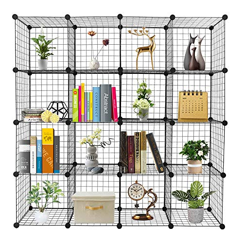 VINGLI Wire Cube Storage, Cube Organizer Metal Grids Shelves, Stackable Storage Bins Multifunction Shelving Unit Modular Cubbies Organizer Bookcase for Home Office (16- Cube)
