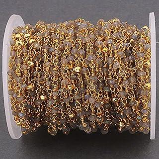 10pies Labradorita y Pirita de oro 24K–Labradorita dorado de alambre envuelto cadena de rosario con cuentas 3mm Pirit...