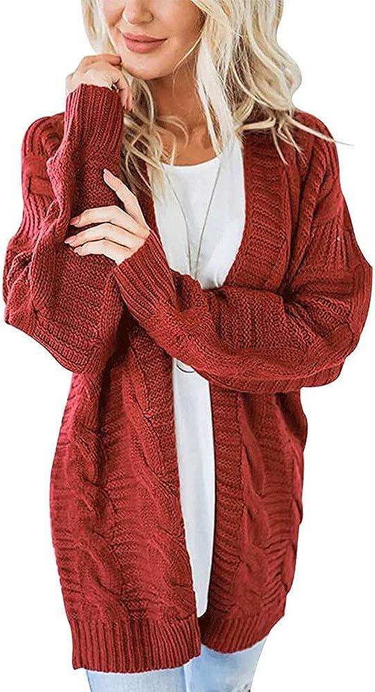 QBSM Women's Loose Open Front Knit Cardigan Sweaters Long Sleeve Outwear No Pockets