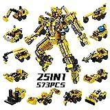AUYYOSK Roboter STEM Bausteine Spielzeug 573 Stück, Bausteine Konstruktionsspielzeug 25 in1 Roboter Bausteine Spielzeug für Kinder 6 7 8 9 Jahre Alte Jungen Mädchen