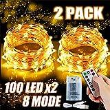 2x 100 Led Lichterkette Weihnachtsbaum Batterie TBoonor Lichterketten für Zimmer