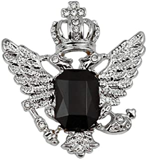 And Silver Crown Eagle Pattern Rhinestone Brooch Jewelry Accessories For Men