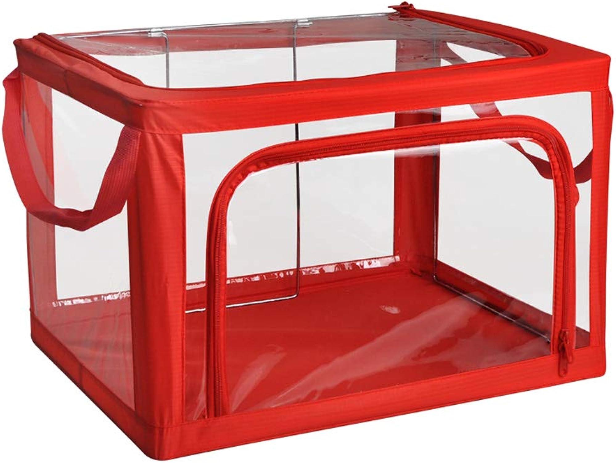 bienvenido a comprar MJB Caja de Almacenamiento Plegable Transparente de la la la Ropa, Caja de Almacenamiento de Acero del pao de Oxford, guardarropa, cabecera (Color   rojo)  despacho de tienda