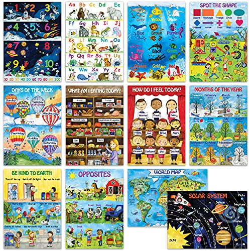 12 Kids Educational Posters for Preschoolers & Toddlers –13x18   Large Preschool Wall Posters for Homeschool Teaching, Distance Learning, Daycare & Kindergarten   ABC Alphabet Poster, 123 Chart & More