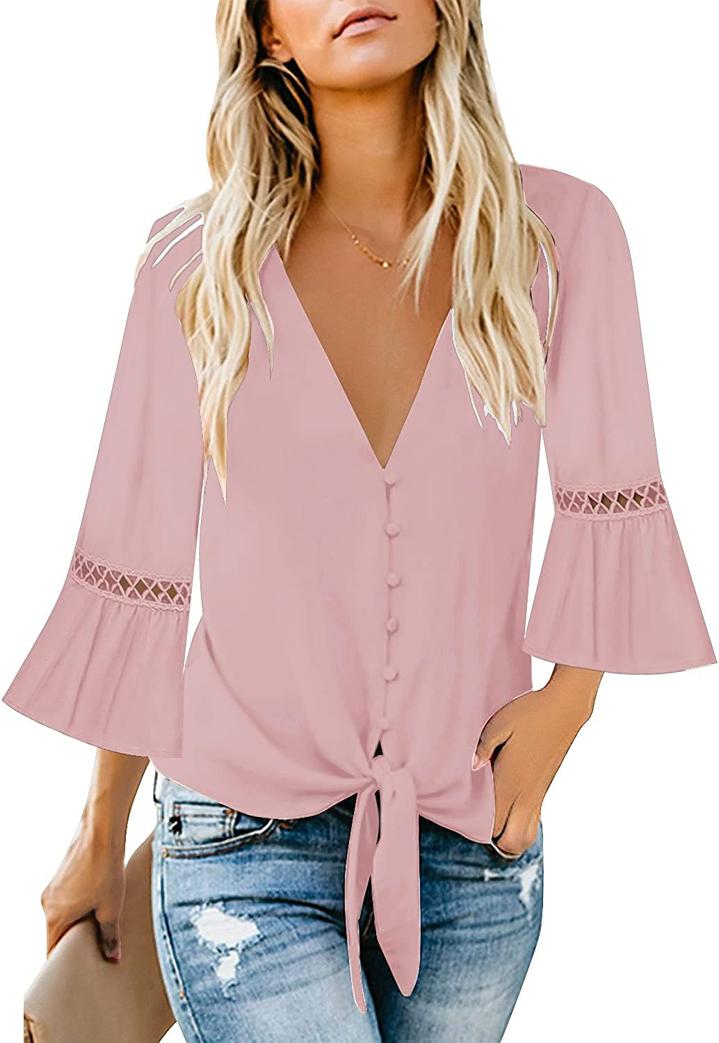 luvamia Women's V Neck Button Down Shirt Casual 3/4 Sleeve Tie Knot Tops Blouses