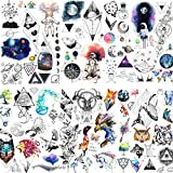 6 Sheets FANRUI Cute Small Temporary Tattoos For Kids Men Women Watercolor Space Star Mountain Unicorn Children Cartoon Face Tattoo Stickers Boys Girls Child Waterproof Arm Tiny Hands Fake Tatoo Paper