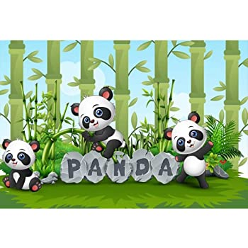 15x10ft Black White Stripes Backdrop Cute Panda Door Cloth Background for Photography Kids Baby Shower Birthday Animal Themed Party Decoration