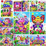 SilverBat Kits de arte de mosaico para niños – Dinosaurio, caballo, pavo real, elefante, tigre, jirafa, pescado, abeja, payaso, autobús, taxi,...