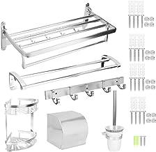 Hongzer Conjunto de prateleira de banheiro, prateleira de armazenamento de parede de alumínio espacial, prateleira de arma...