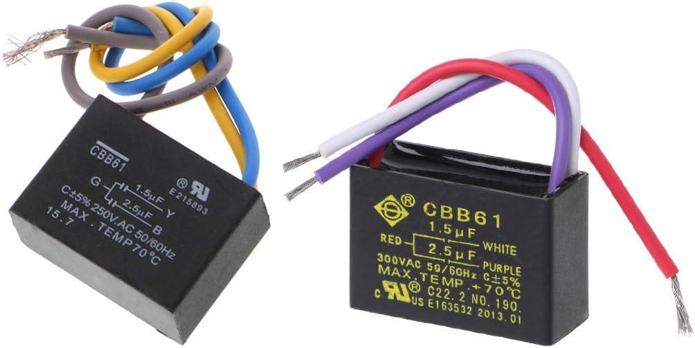 BOBEINI Condensador negro de la CA 250V 50/60Hz de los alambres CBB61 1.5uF+2.5uF 3 para el ventilador de techo