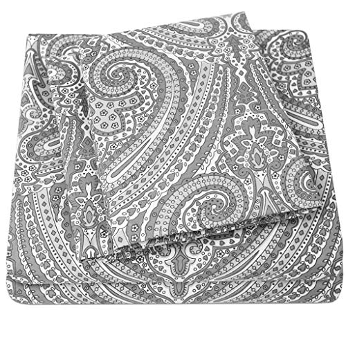 1500 Supreme Collection Bed Sheets - Luxury Bed Sheet Set with Deep Pocket Wrinkle Free Bedding - 4 Piece Sheets - Paisley Print- King, Gray