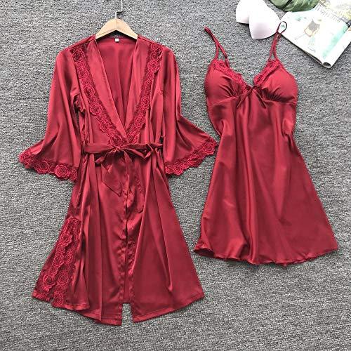 Corsés para Mujer Ropa de Dormir para Mujer Lencería erótica Sexy Encaje Rojo Vino L