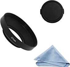 SIOTI Camera Wide Angle Metal Lens Hood with Cleaning Cloth and Lens Cap Compatible with Leica/Fuji/Nikon/Canon/Samsung Standard Thread Lens(37mm)