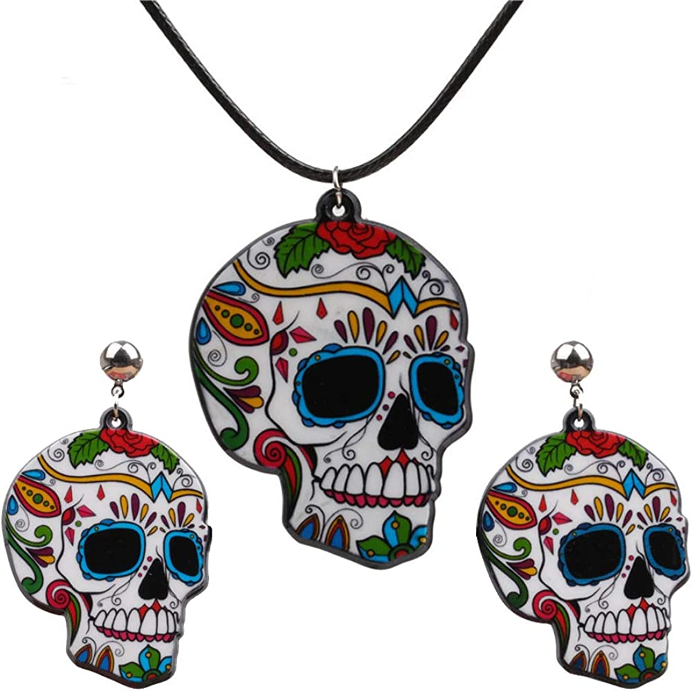 FUTIMELY Halloween Skull Necklace Earrings Set for Women Men Boys,Halloween Personalized Cross Sugar Skull Flowers Ghost Female The Ghost Head Necklace Earrings Jewelry