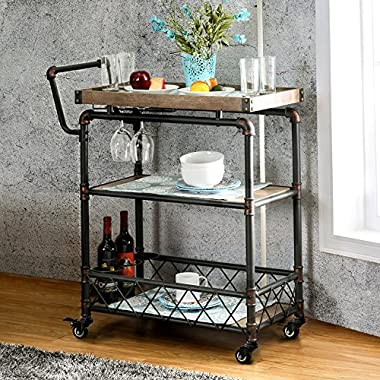 Qianniu Rustic Bar Serving Cart Wheels, Heavy-Duty Vintage Metal Industrial Style 3-Tier Serving Wine Tea Dining Kitchen Cart Bottle Holder Tray Top