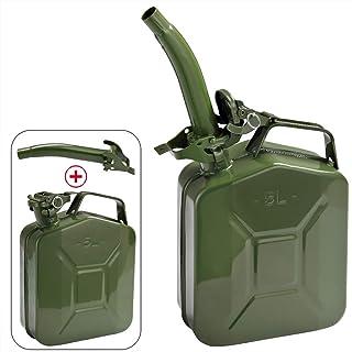 Monzana Bidón de gasolina recipiente metal 5L con boquilla Verde transporte de combustible diésel aceite homologación UN