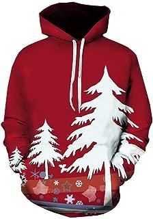Shineshae Weihnachtspullover Herren Weihnachts Langarmshirt Pullover Hoodie Kapuzenpullover Funny 3D Weihnachtsmann Drucken Weihnachten Sweatshirt Warm Christmas Festlicher Party Kapuzenpulli