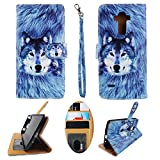 Wallet Case for LG G Stylo LS770 Stylus H631 Designer Case Wallet Cell Phone Wallet Case Flip Pu Leather Kickstand ID Card Slots Folio Cover Phone Pouch Case Husky Wolf