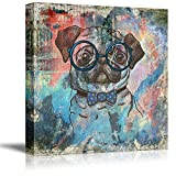 wall26 Square Dog Series Canvas Wall Art - Vintage Style Colorful Painting of a Pug with Glasses - Giclee Print Gallery Wrap Modern Home Art Ready to Hang - 16x16 inches