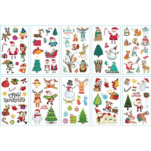 Weihnachten Tattoo Kinder Set Weihnachten Temporäre Tattoos Aufkleber, Mitgebsel Kindergeburtstag Gastgeschenke, Geburtstags Mitgebsel Junge Mädchen, Give Aways Weihnachten