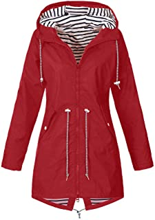 Outdoor Rain Jacket for Women Plus Size Waterproof Hooded Raincoat Windproof