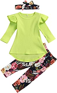 Toddler Baby Girls Outfit Set Long Sleeve Ruffle Blouse Floral Pants Headband 3pcs Fall Winter Clothes