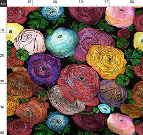 Blumen, Garten, Schwarz, Ranunkel Stoffe - Individuell Bedruckt von Spoonflower - Design von Amy Springer Gedruckt auf Bio Musselin