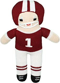 Zubels Baby Boys' Hand-Knit Football Player Plush Toy, All-Natural Fibers, Eco-Friendly, 12-Inch, Maroon & White