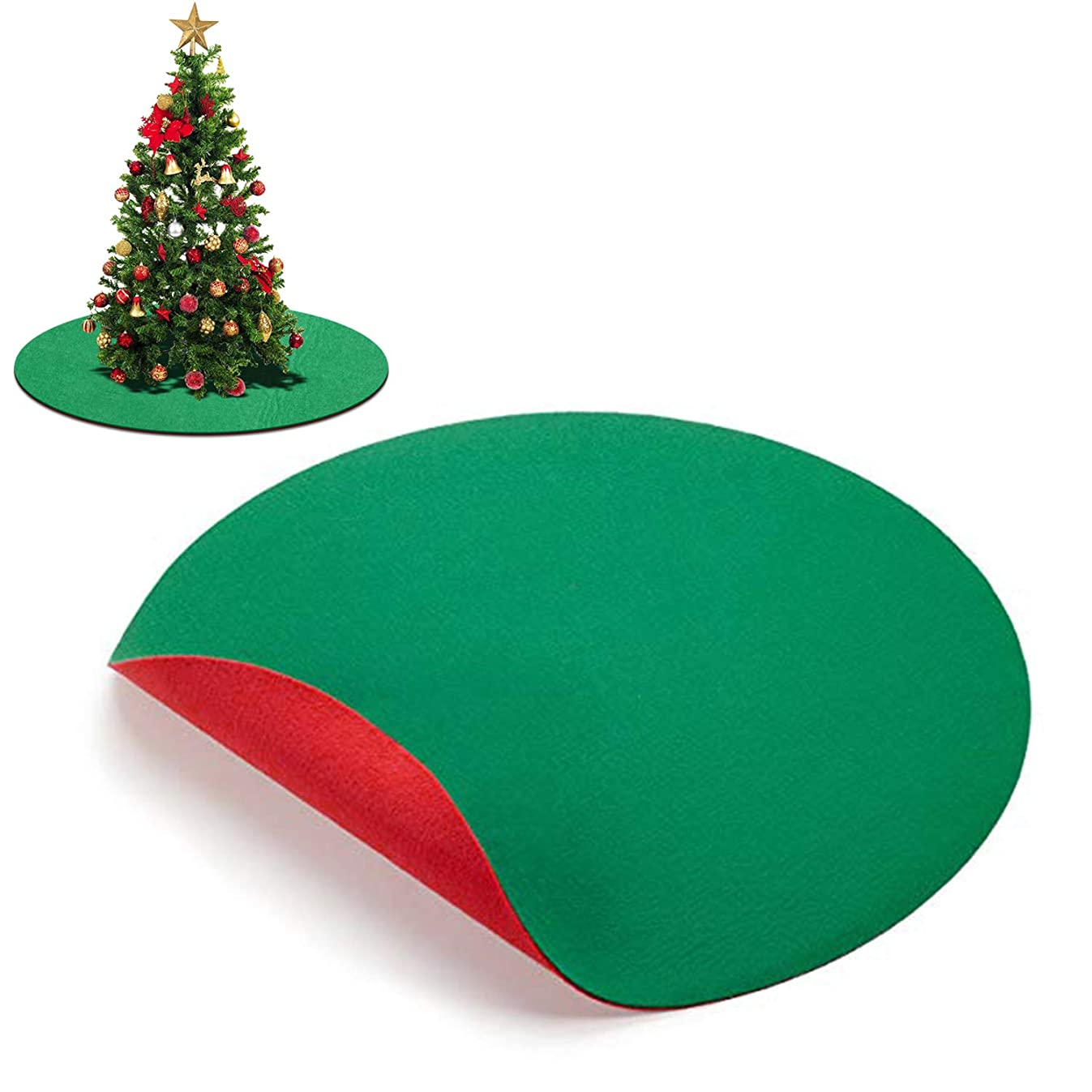 ABOAT 30 inches Red and Green Reversible Christmas Tree Stand Mat Accessory for Floor Protection and Holiday Party Decoration