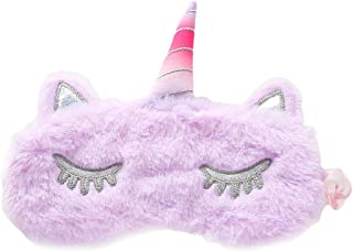 PRETYZOOM - Mascherina per dormire, in peluche, con unicorno, con glitter, per dormire, dormire, dormire, viaggio (viola)