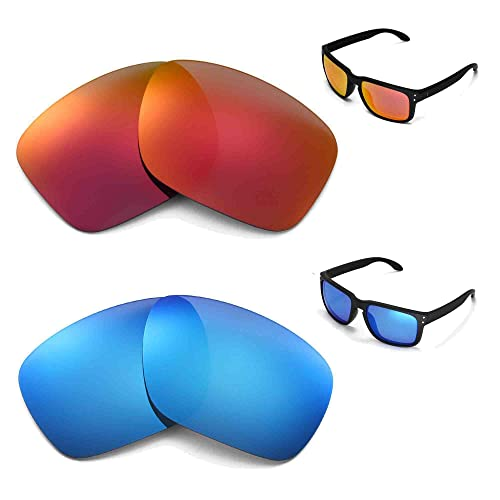 837efc00d06 New Walleva Polarized Ice Blue + Fire Red Lenses For Oakley Holbrook