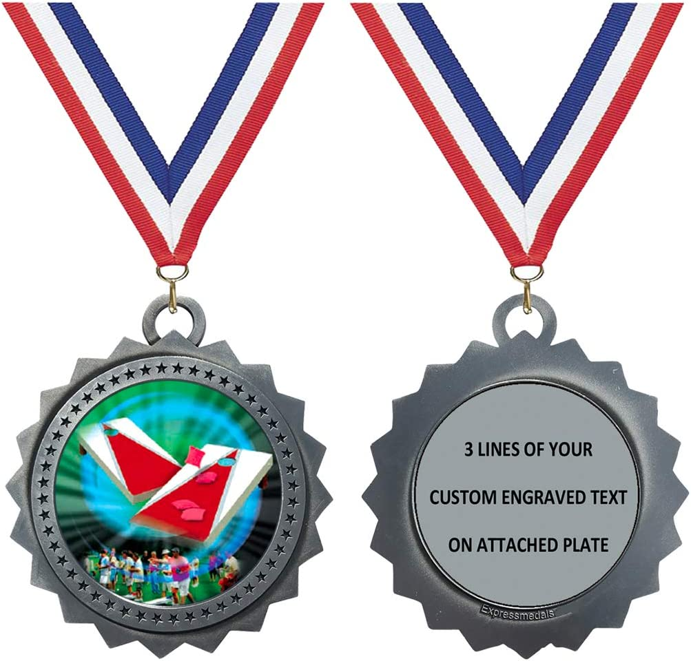 1 to 50 Packs Cornhole Silver Medals Engraved 3 Large Inch Troph All Bombing new work items free shipping
