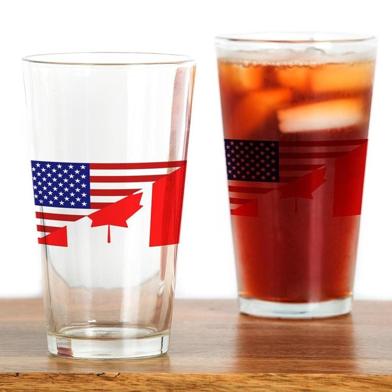 世辞通貨引き渡すCafePress?–?カナダアメリカ国旗Pint Glass?–?パイントガラス、16オンスDrinkingガラス 標準 クリア 055387266033332
