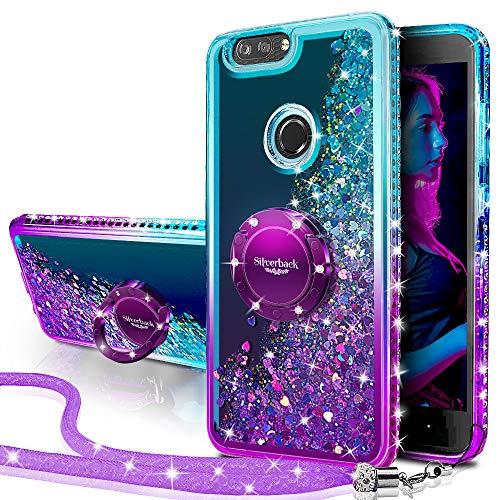 Silverback ZTE Blade Z Max Case, ZTE Blade Zmax Pro 2 Case, ZTE Sequoia Case, Girls Women Moving Liquid Holographic Glitter Case with Ring Stand Bling Case for ZTE Z982 -Purple