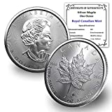 2021 CA 1 oz Silver Canadian Maple Leaf Coin Brilliant Uncirculated with our Certificate of Authenticity by CoinFolio $5 BU