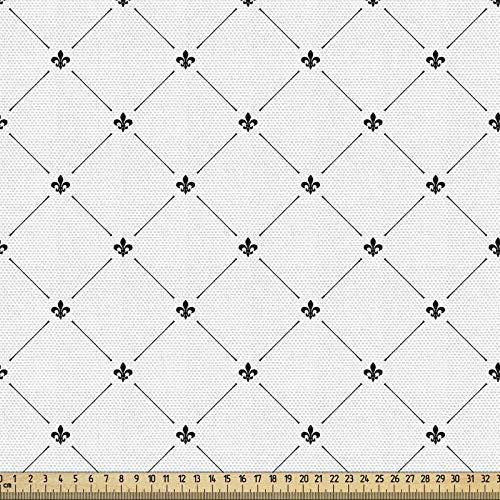 ABAKUHAUS Flor de Lis Tela por Metro, Patrón Damasco Estilo Shabby Chic Formas Geométricas Diamante Vintage Kitsch, Decorativa para Tapicería y Textiles del Hogar, 10M (148x1000cm), Blanco