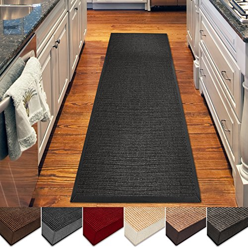 casa pura Sisal Rug Runner - 100% Natural Fiber Area Rug | Non-Skid Rustic Entryway Rug, Living Room Carpet or Kitchen Rugs and Sizes | Black- 2.5' x 9'