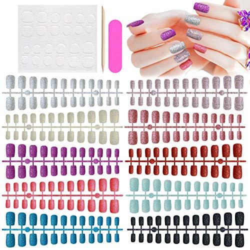 EBANKU 240 Stücke Kurz Sarg Aufdrücken Nägel Falsche Nägel Aufdrücken Nagel Falsche Nägel Glänzend Farbe Vollabdeckung Künstlich Nagel Bunt Nagelspitzen, 10 Sets